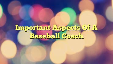 Important Aspects Of A Baseball Coach