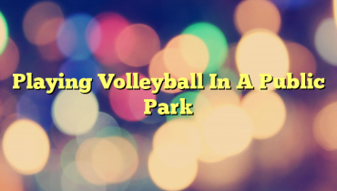 Playing Volleyball In A Public Park